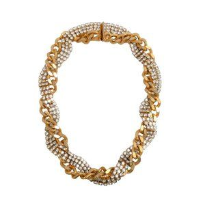 Elizabeth Cole Gold / Crystal Chain And Necklace